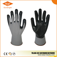 13G Nylon/Polyseter liner, Nitrile Palm Coated Glove, Smooth Surface Nitrile Coated Glove