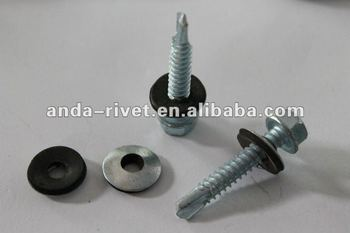 hex head self drilling screw with EPDM washer