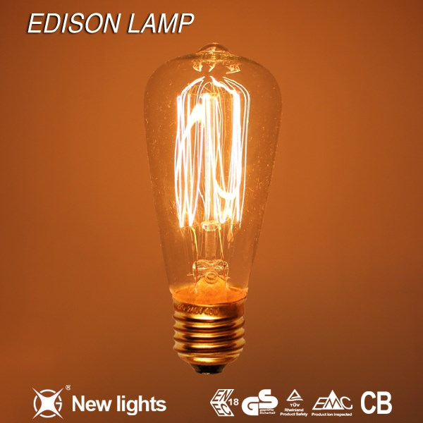 Wholesale Decoration Antique ST58 Edison Bulb 40W E27 220V Industrial Indoor Lighting