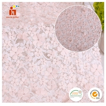 Wholesale price 100% polyester laser cut embroidered elegant woman lace dress fabric