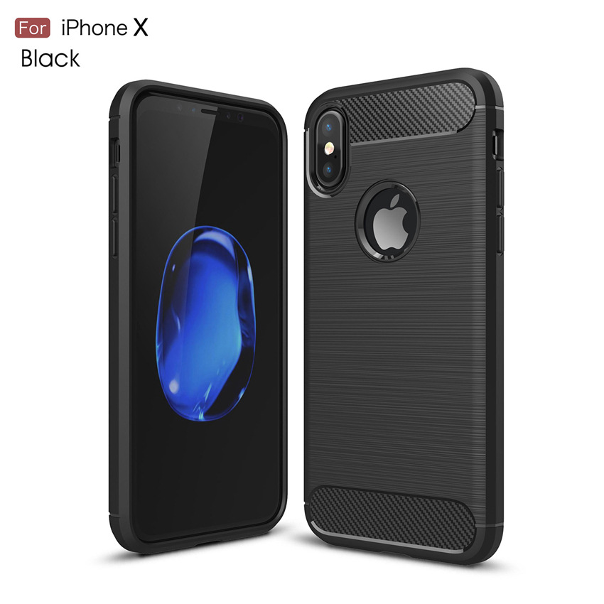 TPU Silicone Brush Carbon Fiber Phone Case Cover For IPhone 5 6 6S 7 7 Plus 8 X