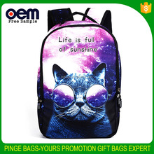 2017 New Wholesale Polyester Trendy Fashion 3D Cat Design Outdoor Sports Women Rucksack Backpack bag <strong>school</strong>