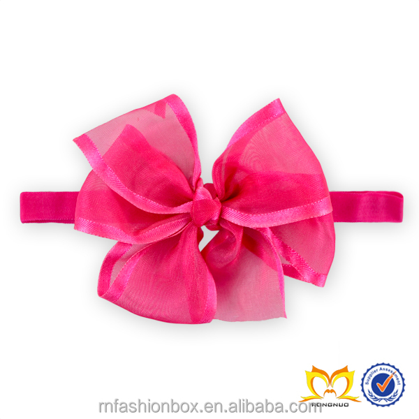 Adorable Baby Hot Pink Chiffon Messy Bow Headbands Cute Toddlers Classy Elastic Hairbands Infant Cheap Wholesale Headbands