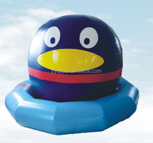 Summer water park big inflatable penguin toy on swimming pool