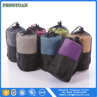 microfiber quick dry easy cleaning china supplier microfiber sports towel in mesh bag