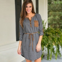 Hot Sale Autumn Striped Knit Dress Korean Fashion Loose Casual Dress For Women