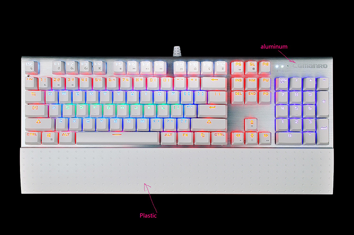 Newest mechanical keybaord with RGB color backlight for PC and Laptop, OEM factory price aluminum