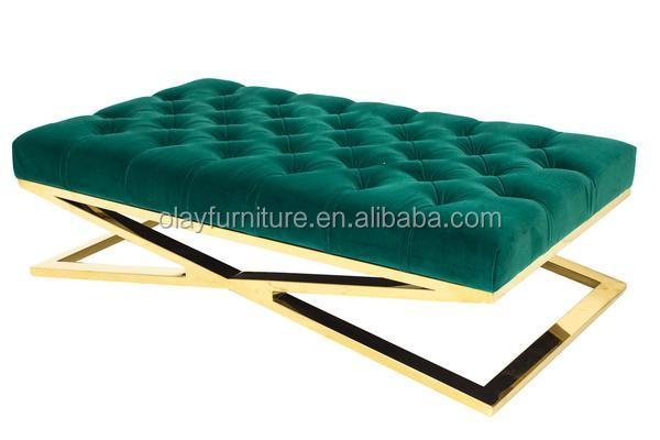 laiton pouf vert de velours pouf pour salon avec chrom croix x jambe oob 401 tabourets et bancs. Black Bedroom Furniture Sets. Home Design Ideas
