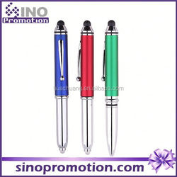 Glow in the dark pen LED on the end multifunction roller pen 2015 new desigh fancy 3 in 1 stylus pen