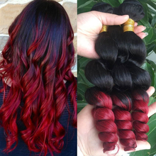 HT Beauty hair Bundles ombre 1B/red color 5A Brazilian Loose Wave Virgin Hair Cheap Brazilian Hair 3 Bundles