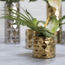 Stylish Ceramic Architect Floral Vase in Gold for Wedding Centerpiece