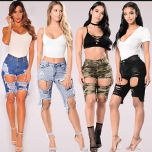 2017 New Brand Women High Waisted Washed Ripped Hole Short Denim Jeans Shorts Fashion Women Shorts Size XS-3XL Sexy Girls Tight