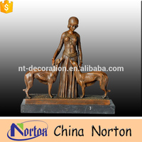 High quality outdoor bronze sculpture of lady and dog NTBH-S868A