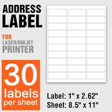 Return address label sticker 30pcs white a4 sheets sticky self adhesive for Inkjet / laser printer