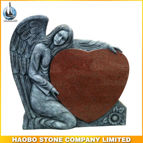 angel hold red heart tombstone/monument