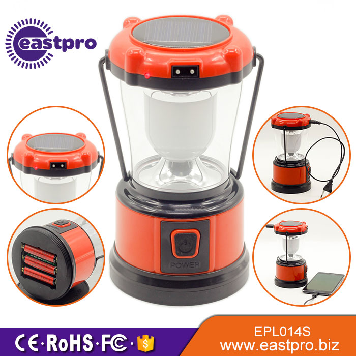 EASTPRO EPL014S 6pcs F8 LEDs 140 lumen solar camping lamp with mobile phone charger