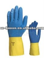 CE EN 388 Cirtefied Natural latex gloves Bi-coloured chemical resistant gloves