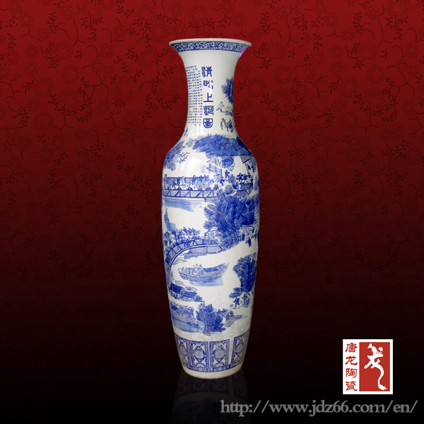 100cm famous painting white and blue tall vase