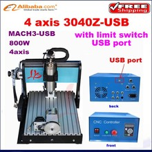 Free ship! Newest 4 axis cnc milling machine 3040 Z-USB 800W water cooling,mini 3d cnc router for wood stone metal carving