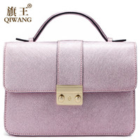 Qiwang Summer Saffiano Women Bag Flap Genuine Leather Small Handbag Crossbody Bag Luxury 2016 cc Party Bag for IPhone Gold Pink