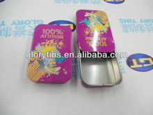 CMYK printing tin box with slide lid for candy packing