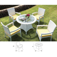 PE rattan cane 4pcs chairs 1 table White Furniture Company Dining Room Sets TCD1004