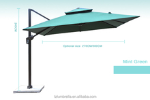 Mint Green Double square 2.5 meters garden umbrella Support for customization LOGO and color