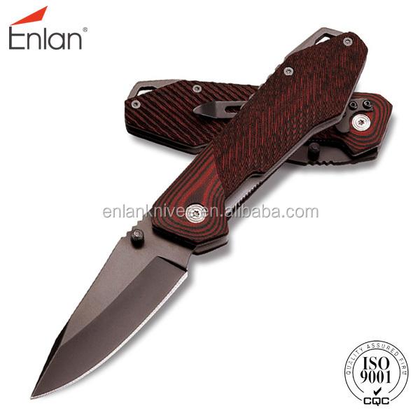 Enlan-Sidelock folding knife with micarta handle E314LMCT-1