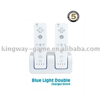 Blue light Double charger stand for wii game