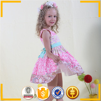 korean style colorful girl frocks pure cotton dress for little girl flower printed boutique dress