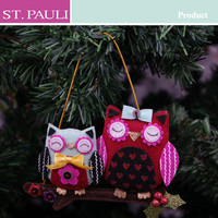 popular customized fabric material lovely coupled christmas tree hanging owl family