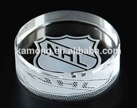 Wedding Favor Laser Engraving Crystal Glass Puck For Hockey Sports Awards