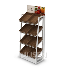 convenience store wall shelf units steel structure fruit vegetable rack with rattan basket