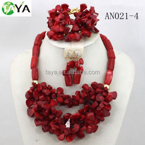 AN021-4 african coral beads nice nigerial fashion jewelry set wine