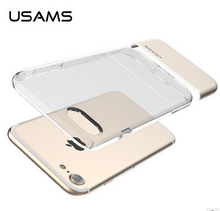 For Iphone 7 TPU Case USAMS 2 in 1 Ease Series Clear TPU+Alloy Case For Iphone 7/7 Plus/7 Pro HD-751