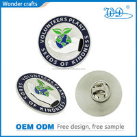 Promotional custom design die cast iron material silver plating soft enamel round metal lapel pin with butterfly clutch