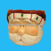 13cm decorative planter resin santa heads