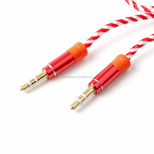 2017 Male to Male 3.5mm Cable Auxiliary Cord Mono Jack 1m Nylon Braided Audio Cable for smart phone