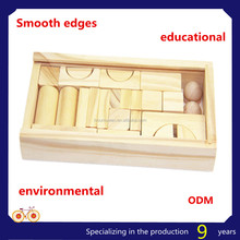 wooden educational building blocks construct set toy