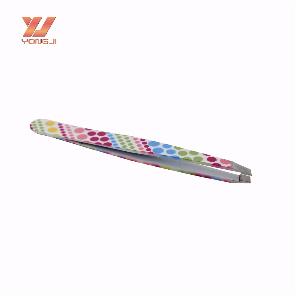 Top quality factory stainless steel slant tip eyebrow tweezers