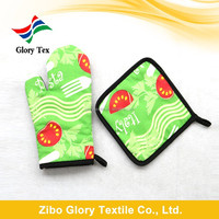 china wholesale 100% cotton printed oven mitt and pot holder set for kitchen