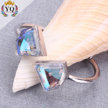 BLX-00437 fashion delicate make crystal bangle open triangle bangle AB shine silver adjustable clear glass bangle