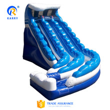 Monster wave double slide pool,double lane inflatable slide,inflatable water slide with pool for sale