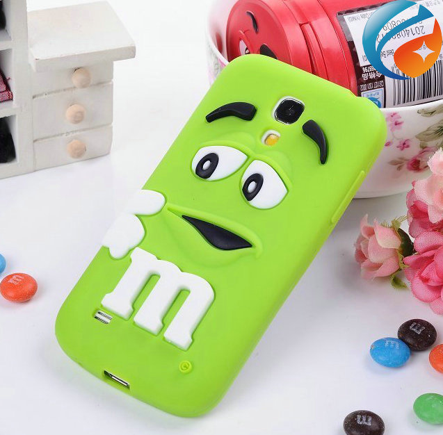3D cute cartoon Cover Silicone M&M Chocolate Beans Case for Samsung Galaxy S4 mini i9190