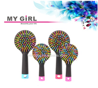 MY GIRL 2016 newest high quality rainbow hair brush with mirror head jog hair brushes