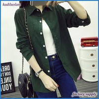 Fashion women cotton stand collar long sleeve solid color slim casual blouse