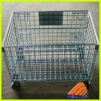 free designed collapsible pallet bin,metal pallet cage customized warehouse storage,large dog cage