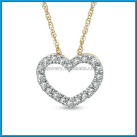 Fashion precious 10k gold simple heart of the ocean necklace