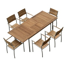 Hot selling European modern outdoor <strong>furniture</strong> 304 stainless steel frame teak wood extending 12 chair dining table set (D571)