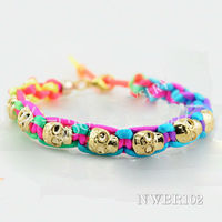 Traditional south indian jewellery made in china Cheap promotional Woven punk bacelet with skull